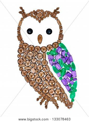 Owl gemstones. Luxury shiny glamor colorful placer. Awesome precious stones mosaic. Multicolored bird, creative unusual decoration. Concept, Feng Shui symbol of wisdom and wealth, isolated
