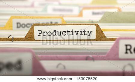 Productivity Concept. Colored Document Folders Sorted for Catalog. Closeup View. Selective Focus. 3D Render.