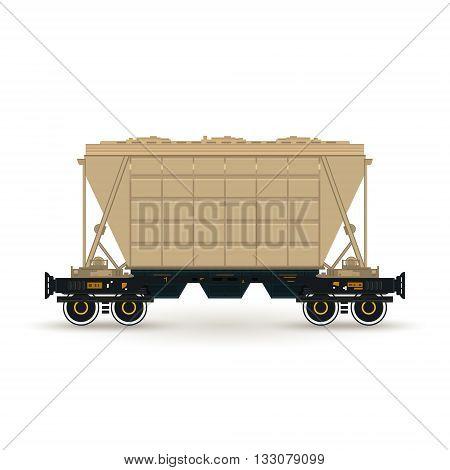 Hopper , Hopper  on Railway Platform Isolated on White, Railway  Transport, Hopper Car  for Transportation  Freights , Vector Illustration