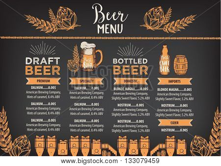 Beer restaurant brochure vector alcohol menu design. Vector bar template with hand-drawn graphic. Beer flyer.