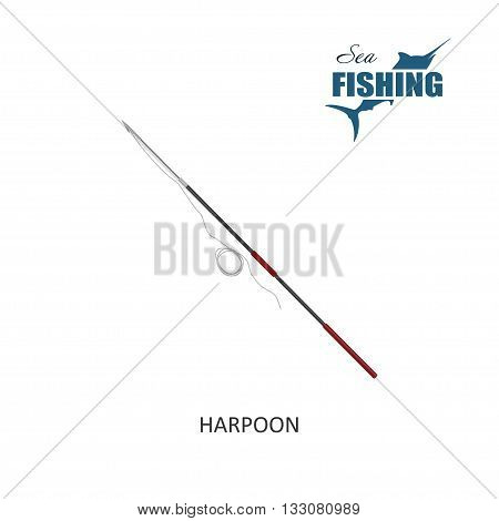 Fishing harpoon. Item of fishing. Vector illustration