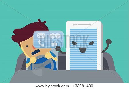 Mobile phone obstruct views of driver with some notification on screen. This illustration meaning to using smartphone while driving may cause an accident.