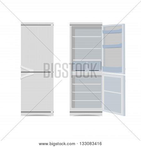 Vector illustration grey opened and closed empty refrigerator. Refrigerator or fridge icon