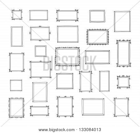 Big set of hand drawn decorative square photo frames. Vintage frames.