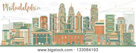 Abstract Philadelphia Skyline with Color Buildings. Vector Illustration. Business Travel and Tourism Concept with Philadelphia City. Image for Presentation Banner Placard and Web Site.