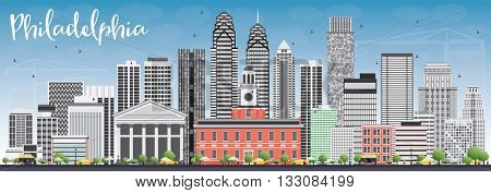 Philadelphia Skyline with Gray Buildings and Blue Sky. Vector Illustration. Business Travel and Tourism Concept with Philadelphia City. Image for Presentation Banner Placard and Web Site.