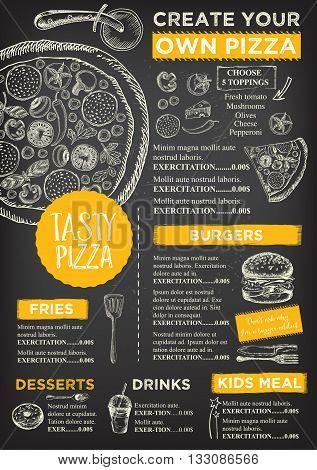 Menu placemat food restaurant brochure menu template design. Vintage creative dinner template with hand-drawn graphic. Vector food menu flyer. Gourmet menu board.