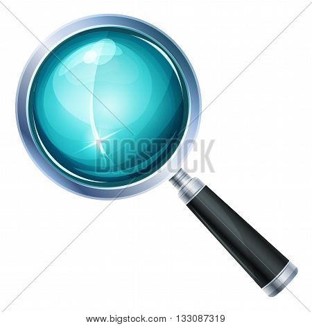 Illustration of a realistic design magnifying glass icon and zoom lens equipment isolated on white background