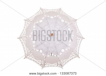 isolated vintage lace umbrella on a white background