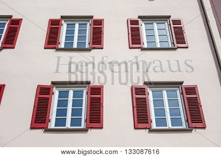 Backnang Germany - April 2 2016: Art gallery of the city of Backnang (Helferhaus). It hosts different exhibitions each year with oeuvres from regional and national artists.