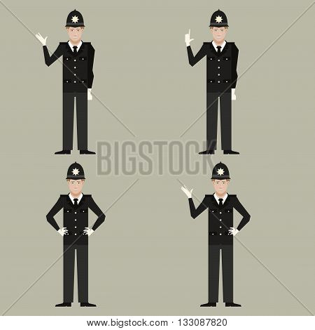 Vector image of the set of British Policemen