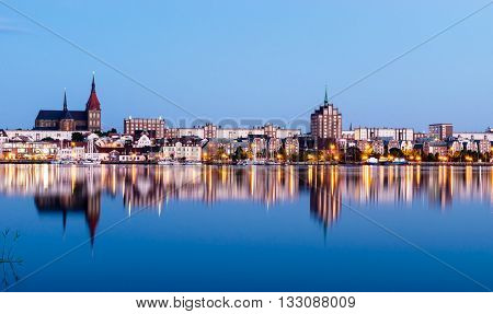 View to Rostock. River Warnow and City port. Mecklenburg-Vorpommern, Germany