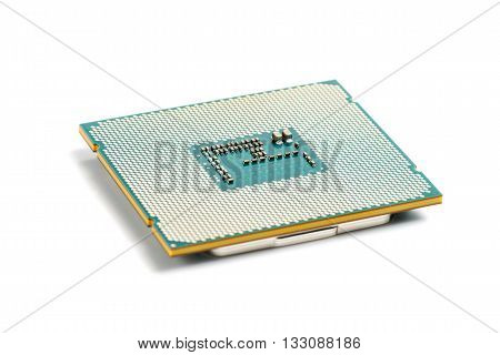 Modern computer processor CPU on white background