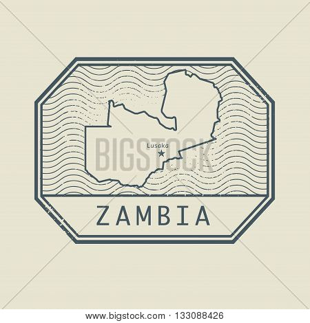 Stamp with the name and map of Zambia, vector illustration