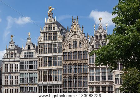 Facades of Guild buildings in the Grote Markt square
