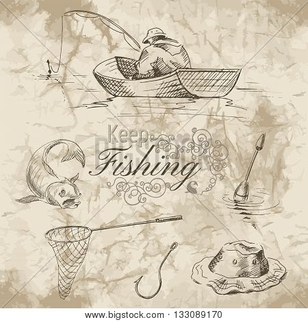 Sketch of fishing. A fisherman in a boat hook net and fish on old paper background. Vector illustration.