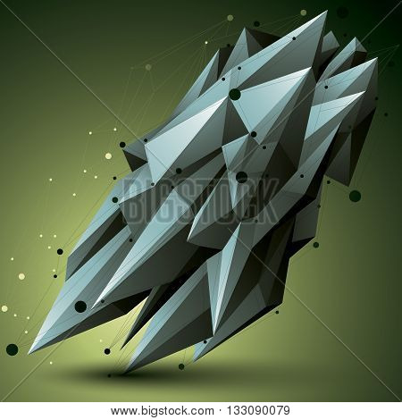 Spatial Technological Contrast Shape, Polygonal Wireframe Object.