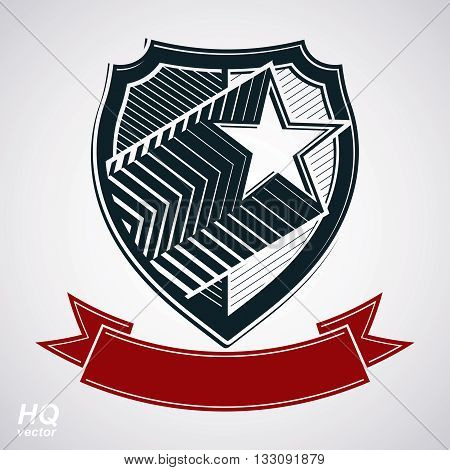 Vector shield with pentagonal comet star and decorative curvy band protection heraldic sheriff blazon with red ribbon.