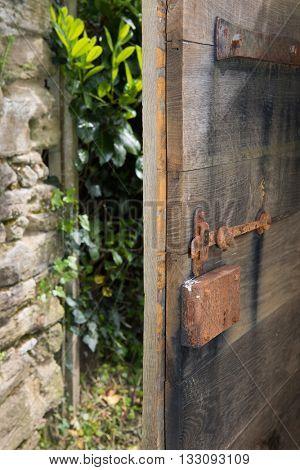 Old open door to the garden