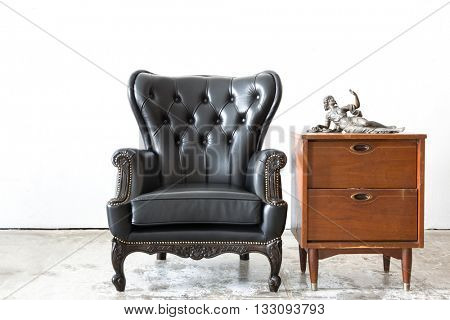 Black genuine leather classical style chair with side cabinet