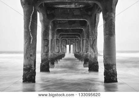 Under the Pier. Black and white photo Manhattan Beach California