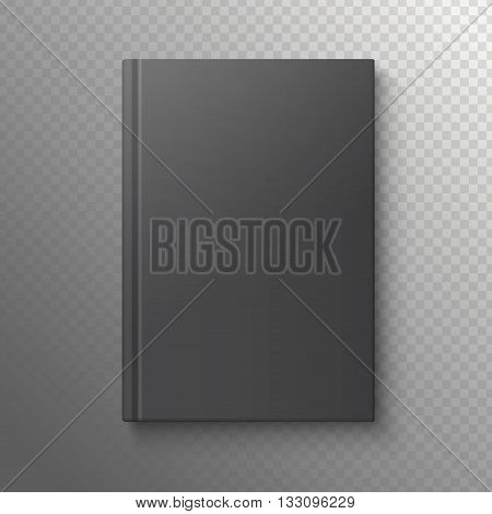 Black book on a transparent background. Vector illustration of the book business. Pattern books for web. White book template.