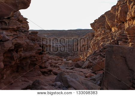 Red canyon around Dahab Sinai Egypt, desert