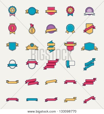 Vector linear set of the badges, ribbons, tags, labels, other design elements and symbols