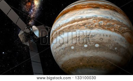 jupiter and satellite juno, space scene, 3D rendering.