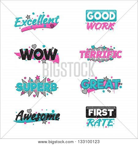 A collection of artistic encouragement achievement badge stickers to praise good work and perfect results. Can be used for educational purposes and just for fun.