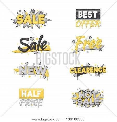 A collection of artistic sale and discount advertising badge stickers. Design elements to advertise special offer, hot sales and clearance proposals.
