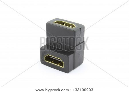 HDMI female to female adapter, on white