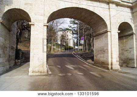 Kislovodsk, Russia - 1 March, The arch over the road, 1 March, 2016. Resort zone Mineral Waters, Krasnodar region.
