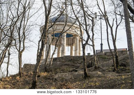 Gazebo on top of a hill. Architecture and attractions of the city of Kislovodsk.