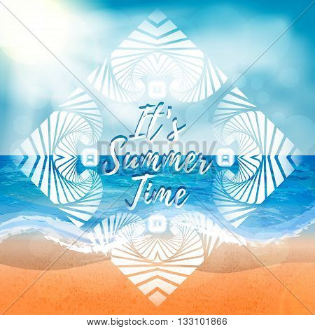 Abstract summer background of beach and sea elements with white decorative frame. It's Summer Time title. Summer background vector illustration