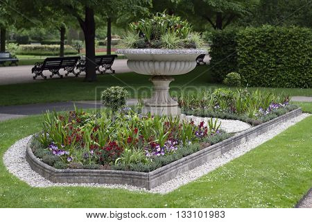 Flower garden in a park in England.