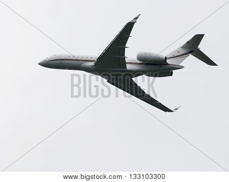 Moscow Region - June 4 2016: Passenger airplane Bombardier BD-700-1A10 Global 6000 takes off at Vnukovo airport on a clear day June 4 2016 Moscow Region Russia