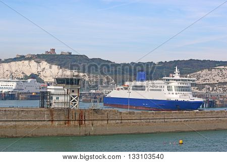 Ferry boat berthed in Dover Harbour, England