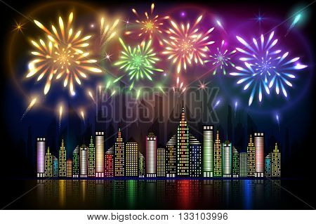 Abstract illustration of colorful fireworks exploding in night sky over downtown city with reflection in water