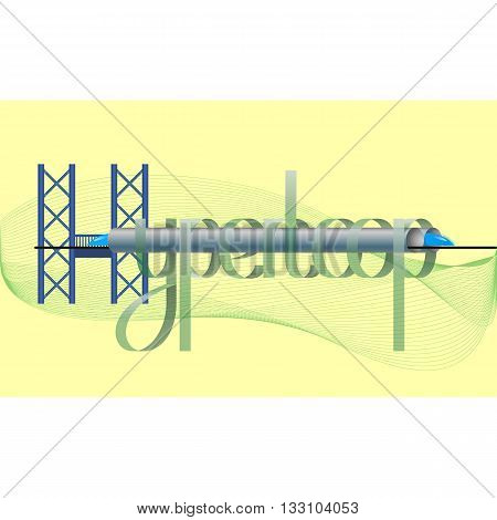transparent hyperloop futuristic lettering on delicate yellow