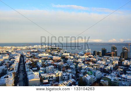 A view across Reykjavik from the Hallgrimskirkja church tower