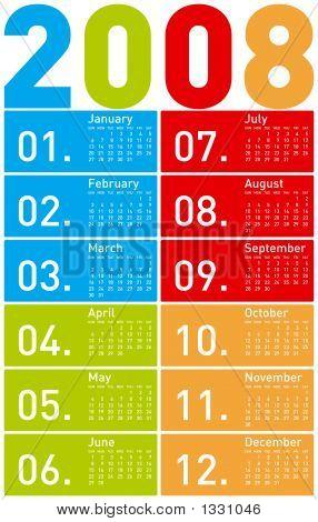 2008 Calendar In 4 Colours
