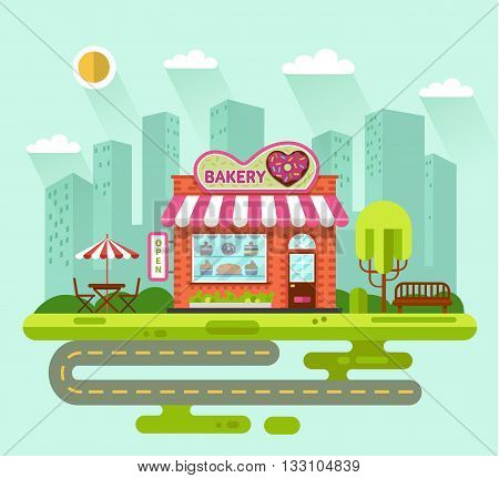 Vector flat style illustration of City landscape with nice bakery shop building, street with road, bench, trees, umbrella, table and chair. Signboard with donut in heart shape.