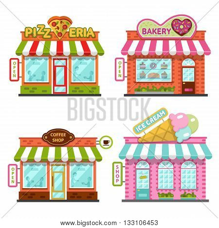 Set of different nice shops with beautiful signboards: coffee shop or cafe, bakery, pizzeria, ice cream shop. Flat vector illustration stock set. Infographic elements.