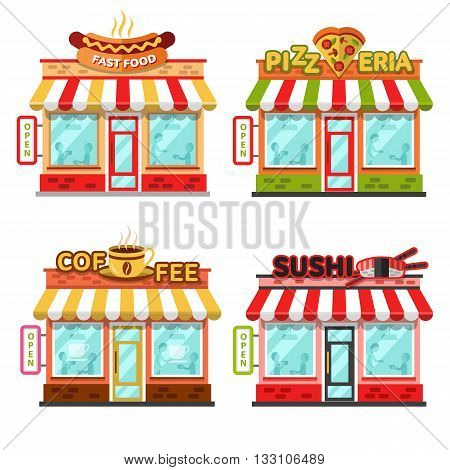 Set of different nice fast food shops with beautiful signboards: coffee shop or cafe, sushi bar or chinese, pizzeria, fast food. Flat vector illustration stock set. Infographic elements.