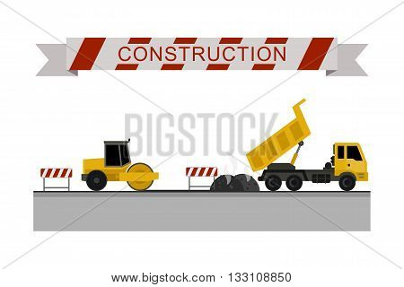 Asphalt compactor at work. Construction machines in flat style. Vector icons of building machinery.