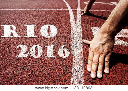 Rio 2016 written on running track
