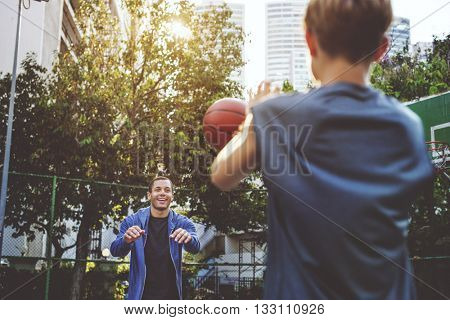 Basketball Athlete Bounce Coaching Exercise Play Concept
