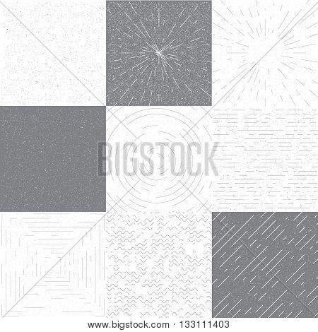 Set of retro grange vector background for design. Retro round frame, square frame, linear frame. Vector background with slanted lines, divergent lines. Vintage grange black and white texture.