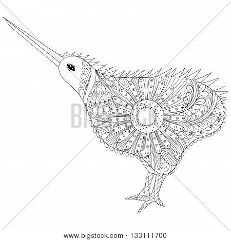 Hand drawn zentangle tribal Kiwi Bird, symbol of New Zealand for adult anti stress coloring pages, ethnic t-shirt print. Boho, bohemian style. Isolated illustration in doodle, henna tattoo design.